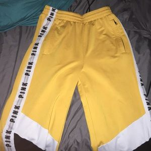 Yellow/gold brand pink joggers